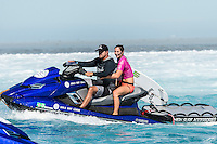 Namotu Island, Fiji (Monday, June 1, 2015) Tyler Wright (AUS) and KaiBorg (HAW) - The Fiji Women&rsquo;s Pro, Stop No. 5 on the 2015 World Championship Tour, has called on this morning with a building swell.<br /> The event was put on hold till 9.30 am to take advantage of the dropping tide and once the water was coming off the reef it got underway.<br /> <br /> The surf was in the 4' range early with light winds and built to around 6' as the tide started pushing around midday. Round 1 was completed today.  Photo: joliphotos.com