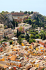 The Greek amphitheater  and Roof top Arial view of Taormina Sicily, Italy