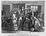 """Vintage Illustration:  """"Pleading with a Saloon Keeper"""" Praying and Protesting drunkenness at saloons (led by Mrs. Col. Lowe).   Woman's crusade against intemperance later known as The  Woman's Christian Temperance Union (WCTU). The scene is illustrated by Mrs. C. S. Reinhart of the events in Xenia, Ohio. Harper's Weekly 1874"""