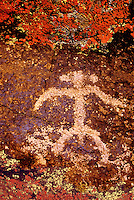 711053043 an ancient indian petroglyph or rock art carving of a human figure in little petroglyph canyon near ridgecrest in the high desert of central california