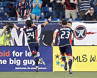 New England Revolution midfielder Lee Nguyen (24) celebrates first of two goals. In a Major League Soccer (MLS) match, the New England Revolution defeated Vancouver Whitecaps FC, 4-1, at Gillette Stadium on May 12, 2012.
