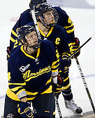 Chris Barton (Merrimack - 23), Stephane Da Costa (Merrimack - 24) - The Boston College Eagles defeated the visiting Merrimack College Warriors 3-2 on Friday, October 29, 2010, at Conte Forum in Chestnut Hill, Massachusetts.