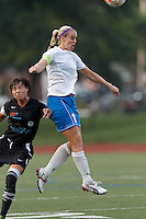 Boston Breakers midfielder Leslie Osborne (12) heads the ball. In a Women's Premier Soccer League Elite (WPSL) match, the Boston Breakers defeated New England Mutiny, 4-2, at Dilboy Stadium on June 20, 2012.