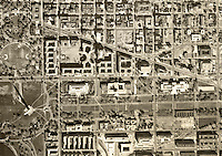 historical aerial photograph of Capitol Mall, Washington Monument, Washington, DC, 1968