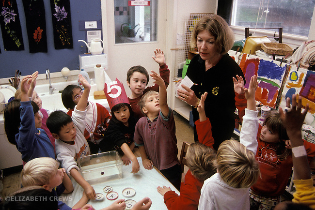 San Francisco CA Kindergarten teacher introducing students to science experiment using weights and water