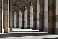 Arcade walkway at the Congress Hall at the old nazi party rally grounds, Nuernberg, Germany