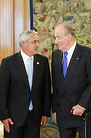 King Juan Carlos of Spain Meets Guatemala President at Zarzuela Palace