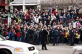 Washington, DC - January 19, 2009 -- Residents wait for United States President-elect Barack Obama while he visits the Sasha Bruce House in Washington, D.C., U.S., Monday, January 19, 2009.  .Credit: Joshua Roberts - Pool via CNP