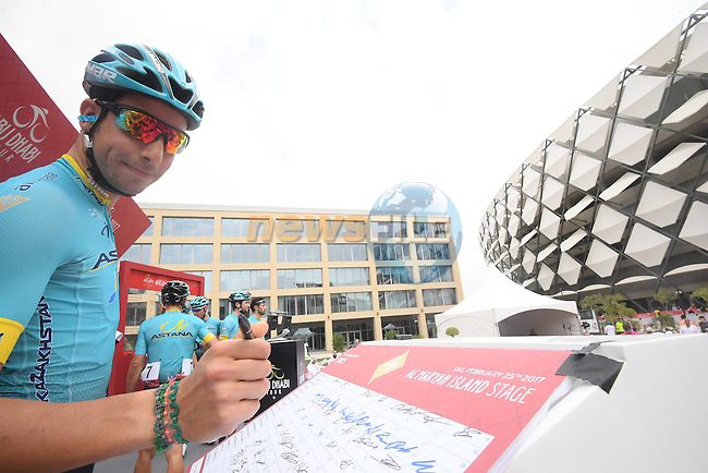 Fabio Aru (ITA) Astana Pro Team at sign on before the start of Stage 3 Al Maryah Island Stage of the 2017 Abu Dhabi Tour, starting at Al Ain and running 186km to the mountain top finish at Jebel Hafeet, Abu Dhabi. 25th February 2017<br /> Picture: ANSA/Claudio Peri | Newsfile<br /> <br /> <br /> All photos usage must carry mandatory copyright credit (&copy; Newsfile | ANSA)