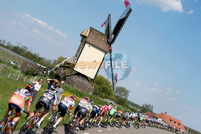The peloton pass a windmill during Stage 2 of the 2016 Giro d'Italia running 190km from Arnhem to Nijmegen, The Nethrerlands. 7th May 2016.<br /> Picture: ANSA/Claudio Peri | Newsfile<br /> <br /> <br /> All photos usage must carry mandatory copyright credit (&copy; Newsfile | ANSA/Claudio Peri)