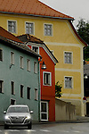 Painted houses and car in Imst .Imst district,Tyrol, Austria.