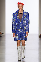 Model walks runway in an outfit by Anwar Roberts, for the 2017 Pratt fashion show on May 4, 2017 at Spring Studios in New York City.