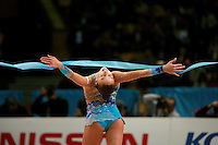 """Evgenia Kanaeva of Russia releases with ribbon during seniors event finals at 2007 World Cup Kiev, """"Deriugina Cup"""" in Kiev, Ukraine on March 18, 2007."""