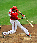 19 June 2011: Washington Nationals' infielder Michael Morse in action against the Baltimore Orioles at Nationals Park in Washington, District of Columbia. The Orioles defeated the Nationals 7-4 in inter-league play, ending Washington's 8-game winning streak. Mandatory Credit: Ed Wolfstein Photo