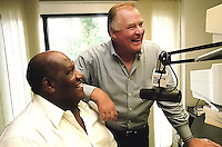 Former Green Bay Packers Jerry Kramer and Willie Davis making the rounds at Green Bay radio stations to promote the Lombardi Legend's charity event.