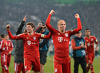 FUSSBALL   DFB POKAL   SAISON 2011/2012   HALBFINALE   21.03.2012 Borussia Moenchengladbach - FC Bayern Muenchen  SCHLUSSJUBEL FC Bayern Muenchen;  Arjen Robben (re) und Thomas Mueller (hinten li)