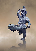 Erotic bronze oil lamp configured as a dancing midget, found in Pompeii,  Secret Museum or Secret Cabinet, Naples Archaeological Museum , art background