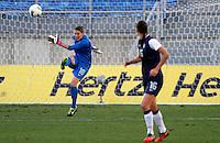 US's Nicole Barnhart kicks the ball during their Algarve Women's Cup soccer match at Algarve stadium in Faro, March 13, 2013.  .Paulo Cordeiro/ISI