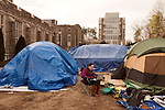 January 23, 2013. Durham, North Carolina. Hailey Diaz, a freshman from Greensboro, NC, works on a laptop outside her tent in K-Ville where students camp out to get tickets for home basketball games at Cameron Indoor Stadium. Students stay for weeks leading up to the game versus arch rival UNC.. Duke University has become a power house in the national college basketball arena under the coaching of head coach Mike Krzyzewski. But the university has fought hard to maintain its image of high academic achievement while riding the wave of collegiate athletic success.