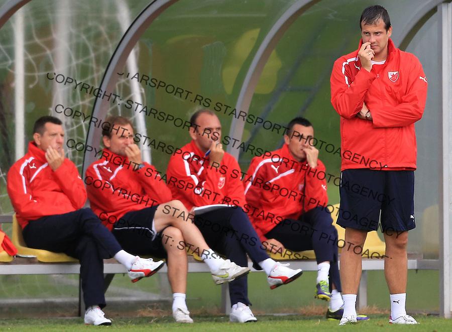 Fudbal season 2013-2014<br /> FK Crvena Zvezda pripreme<br /> Prijateljski mec<br /> Crvena Zvezda v Verzej<br /> Head coach Nenad Lalatovic (R) Goran Negic Bratislav Zivkovic Nebojsa Milosevic and Dragan Sarac<br /> Brezice, 07.09.2014.<br /> foto: Srdjan Stevanovic/Starsportphoto &copy;