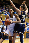 01 February 2016: Duke's Azura Stevens (11) and Notre Dame's Kathryn Westbeld (33). The Duke University Blue Devils hosted the University of Notre Dame Fighting Irish at Cameron Indoor Stadium in Durham, North Carolina in a 2015-16 NCAA Division I Women's Basketball game. Notre Dame won the game 68-61.