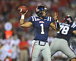 Ole Miss quarterback Randall Mackey (1) passes vs. Alabama at Vaught-Hemingway Stadium in Oxford, Miss. on Saturday, October 14, 2011. Alabama won 52-7.