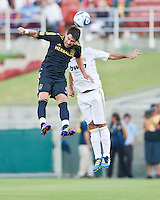 LOS ANGELES, CA – July 16, 2011: Juan Pablo Angel (9) of LA Galaxy during the match between LA Galaxy and Real Madrid at the Los Angeles Memorial Coliseum in Los Angeles, California.