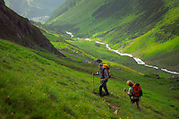 Verwall Gruppe, Ischgl, Austria, July 2004. The path leads from Ischgl over the Doppelsee scharte pass, and ends at the hut. Trekking from hut to hut in the Verwall Gruppe is a strenuous adventure, however no knowledge of technical mountaineering is necessary. Photo by Frits Meyst/Adventure4ever.com
