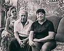 15 of May 2014 - Ukraine - Donetsk - From left, Uliana Robinovich, grand daughter of Isakov (center) and one of his daughter, Alla. They are part of the last Jewish family living in Donetsk. (Part of a video project)