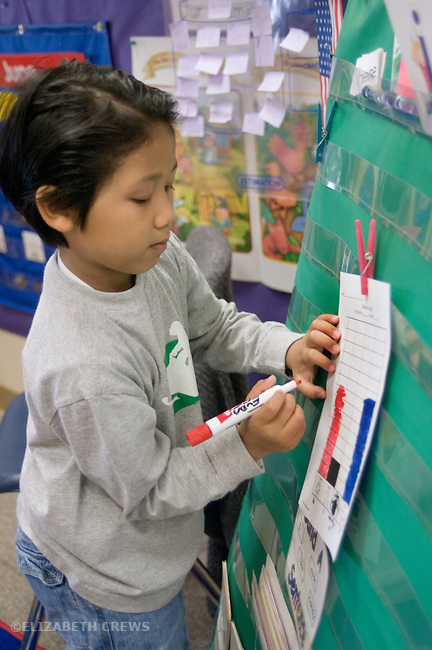 Alameda CA Kindergarten student showing skill with graphing ideas