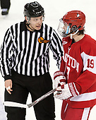 Kevin Briganti, Clayton Keller (BU - 19) - The visiting Boston University Terriers defeated the Boston College Eagles 3-0 on Monday, January 16, 2017, at Kelley Rink in Conte Forum in Chestnut Hill, Massachusetts.