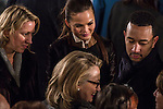 Secretary of State Hillary Clinton talks with singer John Legend and his fiancee Christine Teigen at the Inaugural Luncheon in Statuary Hall of the U.S. Capitol on Monday, January 21, 2013 in Washington, DC.