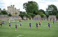 Bath Rugby players in action. Bath Rugby training session on July 21, 2015 at Farleigh House in Bath, England. Photo by: Patrick Khachfe / Onside Images
