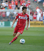 Chicago defender Dan Gargan (3) dribbles the ball.  The Chicago Fire defeated Toronto FC 2-0 at Toyota Park in Bridgeview, IL on August 21, 2011.
