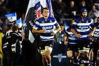 Zach Mercer and the rest of the Bath Rugby team run out onto the field. Anglo-Welsh Cup match, between Bath Rugby and Leicester Tigers on November 4, 2016 at the Recreation Ground in Bath, England. Photo by: Patrick Khachfe / Onside Images