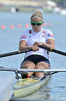 Hamilton, NEW ZEALAND.  USA  W1X Lindsay MEYER, at the start of the women's single sculls. 2010 World Rowing Championship on Lake Karapiro Monday 01.11.2010. [Mandatory Credit Peter Spurrier:Intersport Images].