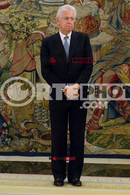02.08.2012. Juan Carlos of Spain attends the audience with Mr. Mario Monti, President of the Council of Ministers of Italy, at the Palacio de la Zarzuela in Madrid. In the image Mario Monti (Alterphotos/Marta Gonzalez) /NortePhoto.com<br />