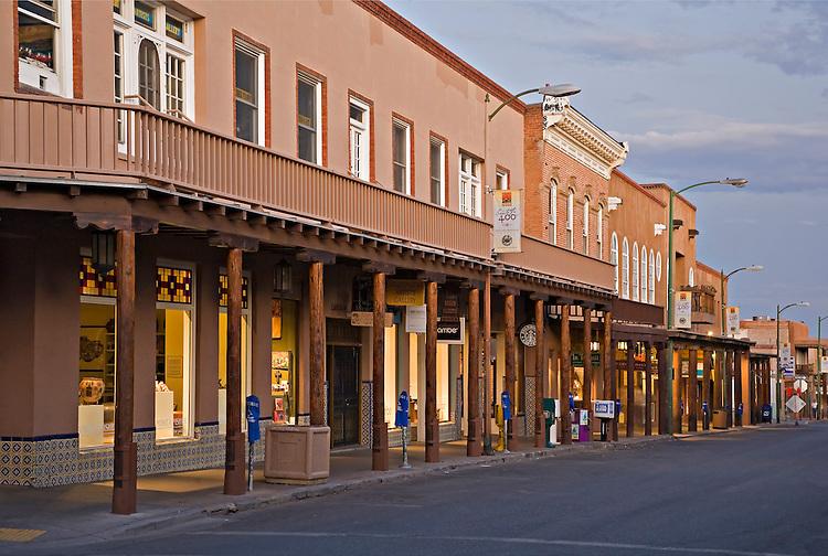 Exterior view of shops along San Francisco Street in Santa Fe, New Mexico