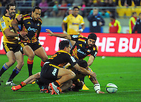 Ma'a Nonu scores a disallowed try during the Super Rugby match between the Hurricanes and Chiefs at Westpac Stadium, Wellington, New Zealand on Saturday, 16 May 2015. Photo: Dave Lintott / lintottphoto.co.nz