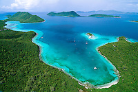 Aerial view of Leinster Bay with Mary Creek and Waterlemon Cay.St. John, Virgin Islands National Park.U.S. Virgin Islands