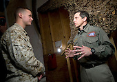 Bagram, Afghanistan - December 17, 2008 -- Sloan Nelson, president and CEO of the United Services Organization (USO) is interviewed by United States Marine Corps correspondent Sergeant Brian Buckhalter, backstage at the  2008 USO Holiday Tour stop in Bagram, Afghanistan on Wednesday, December 17, 2008. Nelson is leading the USO tour with  comedians John Bowman, Kathleen Madigan and Lewis Black; actress Tichina Arnold; American Idol contestant and country musician Kellie Pickler and Grammy award winning musician Kid Rock joined the tour bringing music and entertainment to service members and their families stationed overseas. .Credit: Chad J. McNeeley - DoD via CNP