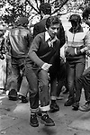 Teenagers Kings Road Chelsea London Uk 1977. Saturday afternoon in the Kings Road Chelsea London, impromptu jive by young Teddy Boys who have gathered outside the Boy boutique.