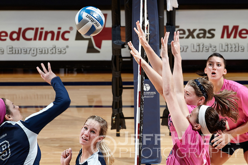 SAN ANTONIO, TX - OCTOBER 18, 2013: The Rice University Owls versus the University of Texas at San Antonio Roadrunners Volleyball at the UTSA Convocation Center. (Photo by Jeff Huehn)