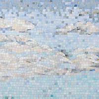 Clouds, a hand-cut mosaic shown in Absolute White, Moonstone, Opal, Pearl, Amazonite, Covelite, Quartz, Chalcedony, Champagne, Alabaster, and Aquamarine Sea Glass™, is part of the Sea Glass™ Collection by Sara Baldwin for New Ravenna.