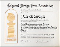 BNPs.co.uk (01202 558833)<br /> Pic: JuliensAuctions/BNPS<br /> <br /> Patrick Swayze's certificate of nomination for a Golden Globe.<br /> <br /> The iconic leather jacket worn by Patrick Swayze as he delivers the famous line &quot;Nobody puts Baby in a corner&quot; is up for grabs.<br /> <br /> The notable piece of clothing from the 1987 classic Dirty Dancing has been given a conservative estimate of less than &pound;5,000 but auctioneer Darren Julien says the &quot;Holy Grail&quot; of Swayze memorabilia could fetch more than six times that.<br /> <br /> The surfboard from Point Break (1991) and Swayze's shirt from Ghost (1990) are also among the key lots being sold by his wife of 34 years, Lisa Niemi.<br /> <br /> The Hollywood items being sold by Julien's in Los Angeles, following the star's death from pancreatic cancer in 2009, offer film fans the chance to own a piece of pop culture history.<br /> <br /> The memorabilia will be sold in Los Angeles on April 28 and 29.