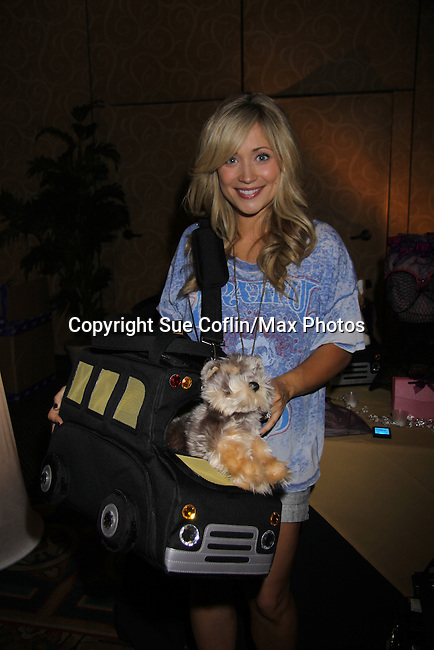 The Young and The Restless Marcy Rylan (5 months pregnant) with Doggie/Mommy bag at the gifting suite at the 38th Annual Daytime Entertainment Emmy Awards 2011 held on June 19, 2011 at the Las Vegas Hilton, Las Vegas, Nevada. (Photo by Sue Coflin/Max Photos)