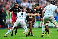Mako Vunipola of Saracens takes on the Racing 92 defence. European Rugby Champions Cup Final, between Saracens and Racing 92 on May 14, 2016 at the Grand Stade de Lyon in Lyon, France. Photo by: Patrick Khachfe / Onside Images