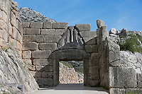MYCENAE, GREECE - APRIL 13 : A general view of the Lion Gate on April 13, 2007 in Mycenae, Peloppenese, Greece. Mycenae, a hill top citadel, was the most important place in Greece from c. 1600 to c. 1100 BC. It was first completely excavated by German archaeologist Heinrich Schliemann between 1874 and 1878, but the Lion Gate, c. 1250 BC, seen throwing shadows in the afternoon sun, was excavated in 1841 by Kyriakos Pittakis. Two stone lionesses flank a column above the gateway which is set into massive stone walls. (Photo by Manuel Cohen)