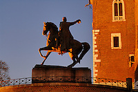 Poland, Krakow, Wawel, Tadeusz Kosciuszko Monument  and Cathedral tower