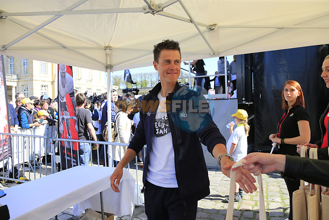 Niki Terpstra (NED) Quick-Step Floors at the Team Presentation for the upcoming 115th edition of the Paris-Roubaix 2017 race held in Compiegne, France. 8th April 2017.<br /> Picture: Eoin Clarke | Cyclefile<br /> <br /> <br /> All photos usage must carry mandatory copyright credit (&copy; Cyclefile | Eoin Clarke)